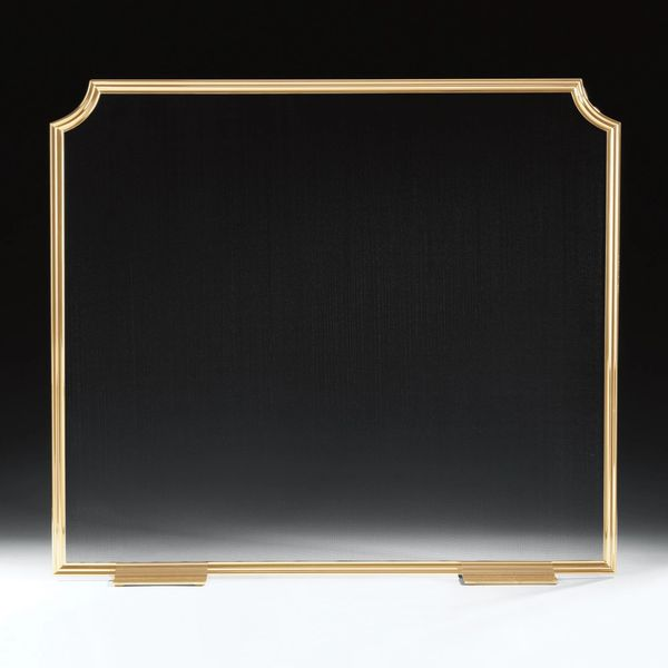 Simple Lacquered Brass Fireplace Screen with Black Mesh Handmade in Italy