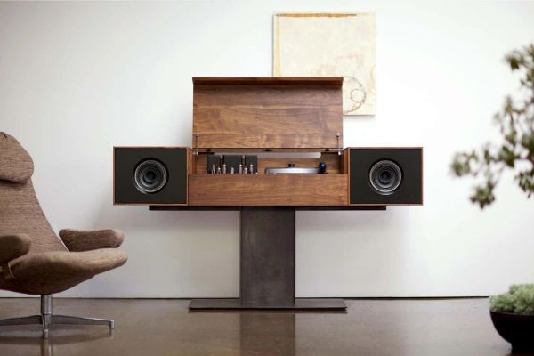 Modern Record Stereo Console Turntable Tube Amplifier Hand Built in the USA Solid Walnut Contemporary Sumiko Cartridge