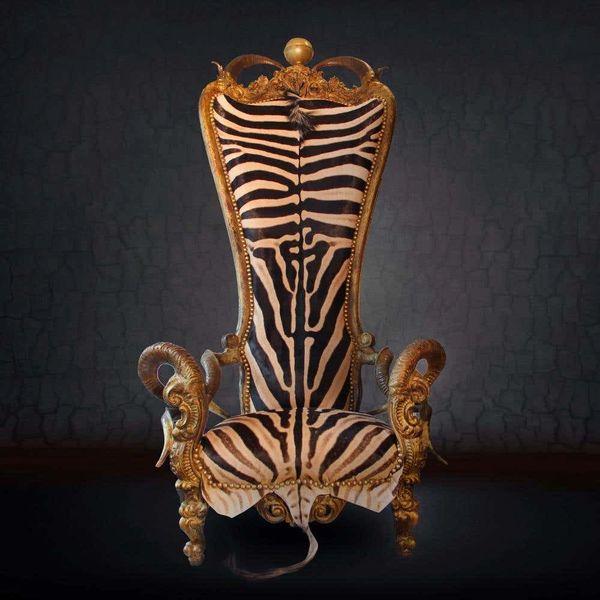 Zebra Skin Chair Kudu, Zebu, & Mouflon Horns African Solid Beechwood Bronze Made in France in 2019 NEW 7' Tall Handmade Art