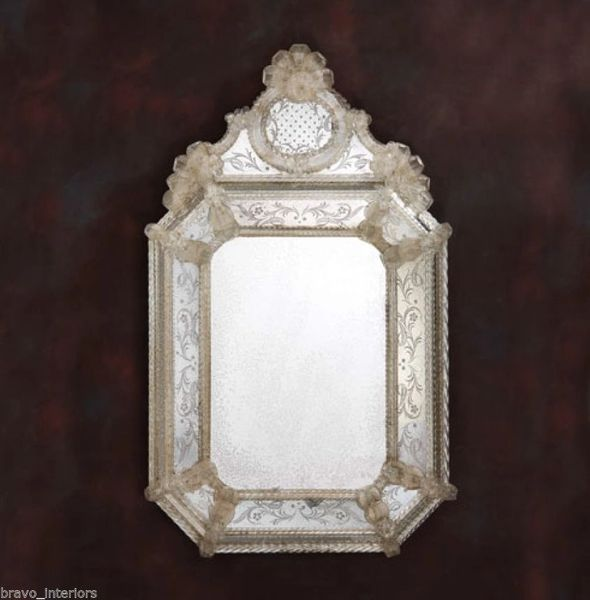 Venetian Mirror Small Etched Glass Gold