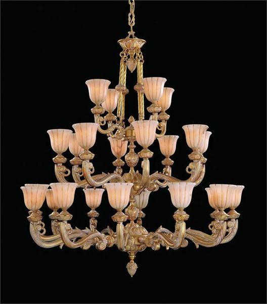 French Chandelier 24 Light Large Alabaster Gold