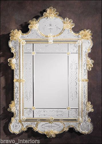 Venetian Mirror w/ Etched Glass Made in Italy