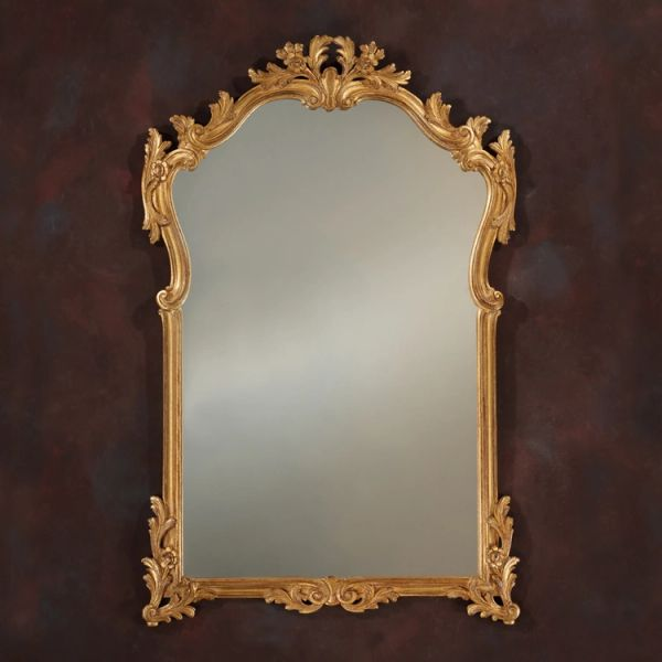 French Mirror Hand Carved Gold Leaf 4' Tall