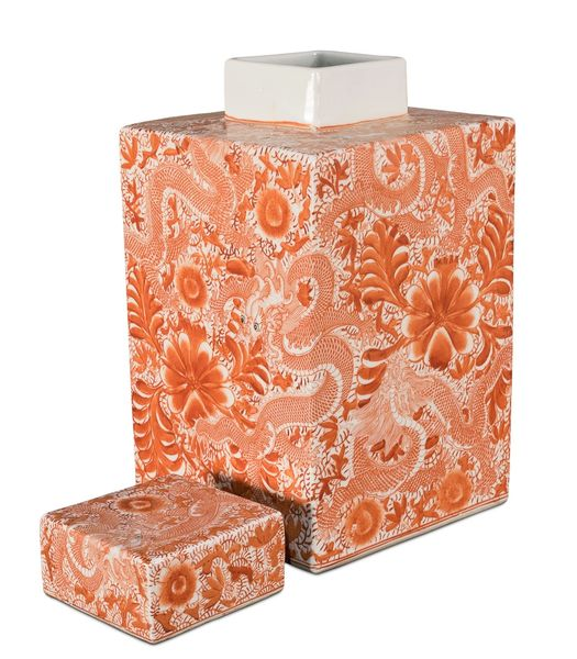 Salmon Urn Vase Ceramic Hand-Painted Square