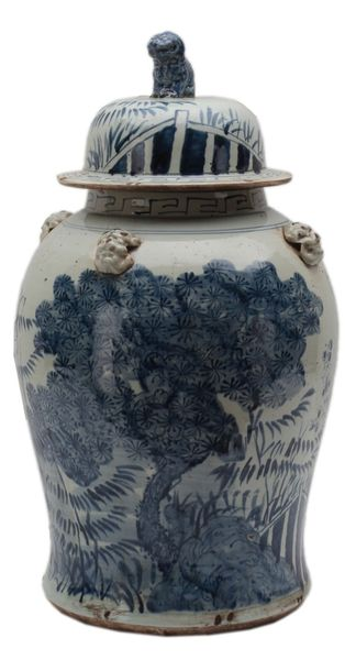 Asian Vase Ceramic Large Blue & White