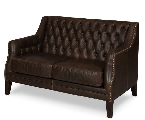 Leather Loveseat Sofa Brown Tufted