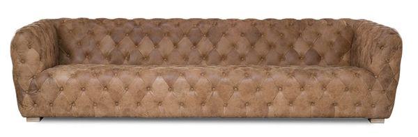 Long Sofa Tan Leather Tufted 10'