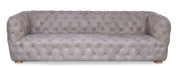 Gray Sofa Leather Tufted Handmade