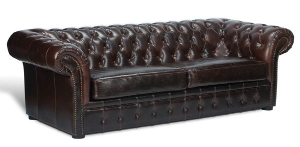 Tufted Couch Sofa Leather Rolled Arms
