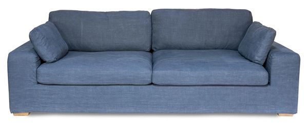 Blue Sofa Couch Solid Oak Handmade
