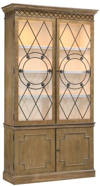 Display Cabinet Oak w/ Brass Accents Fine Reproduction