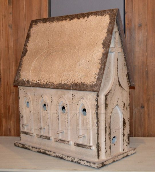 Chapel Birdhouse Large Handmade White