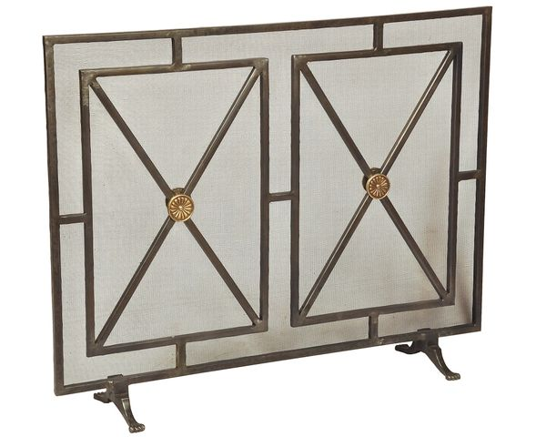 Fireplace Screen Iron w/ Rosettes & Panels