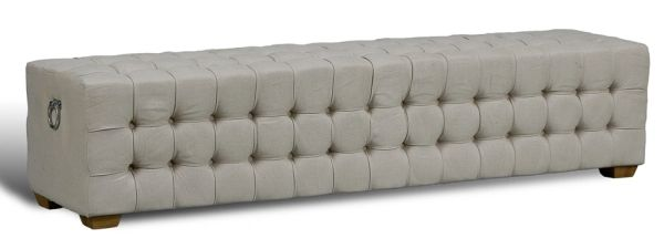 Long Bench in Tufted Grey Linen 6'