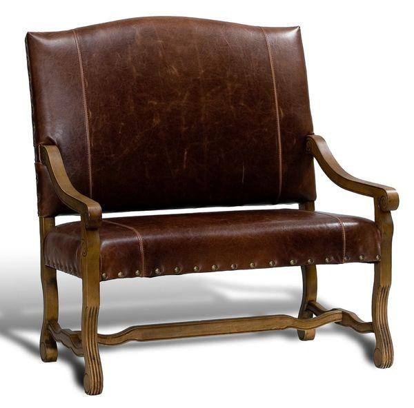 Leather Settee Dark Brown Solid Oak