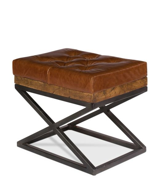 Leather Ottoman Bench W Steel Base Bravo Interiors