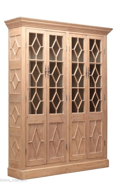 Diamond Bookcase Cabinet in Solid Pine