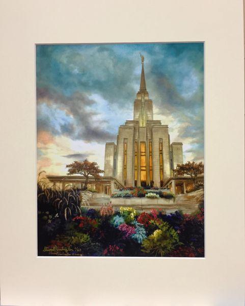 LDS Temple Print Ochre Mountain Matted 11