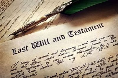 Last Will and Testament with feather quill pen