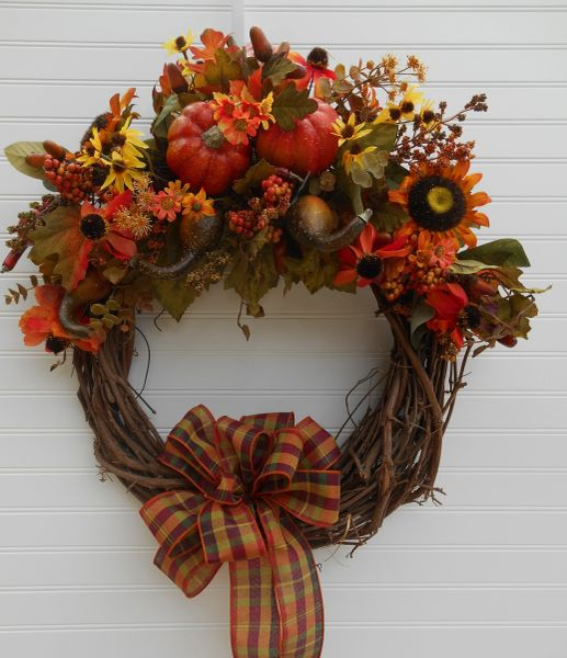 Fall Grapevine Wreath With Plaid Ribbon Custom Wreaths And Seasonal Decorations