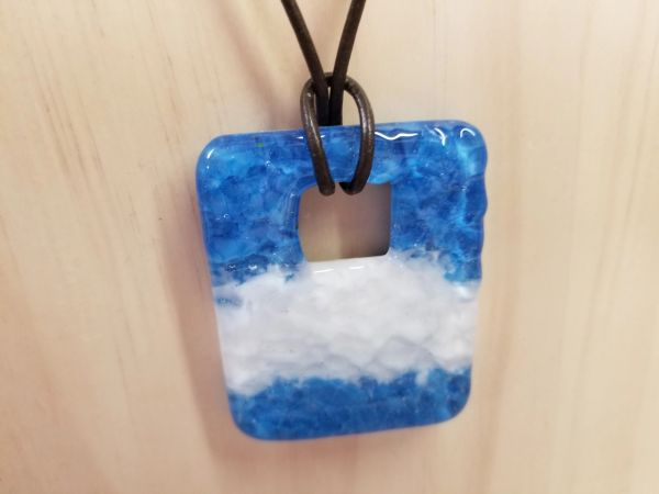 Modern blue and white large pendant