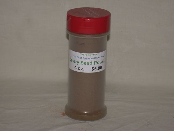 Celery Seed Powder, 4 oz., in a small shaker