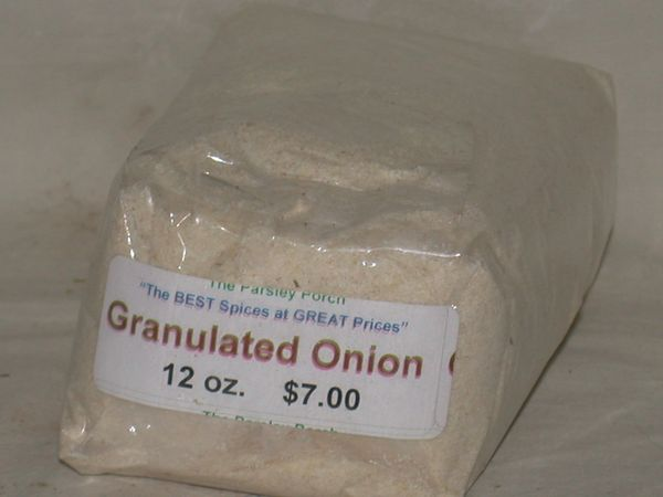 Onions, granulated, 12 oz.