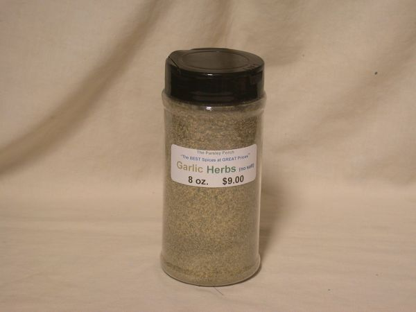 Garlic Herbs (no salt), 8 oz., in a large shaker