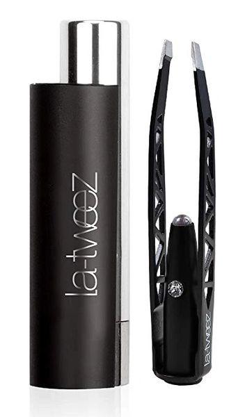 LaTweez Pro Illuminating Tweezers with Lipstick Case, Black,