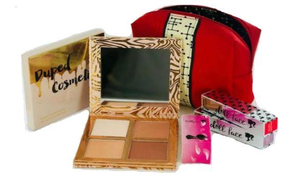 Dupep Cosmetic Contour Medium Palette & 2pcs Dollface Lipstick + Red Bag Set