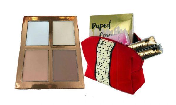 Dupep Cosmetic Contour Light Palette &2Pcs Dollface Lipstick + Red Bag Set