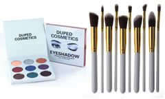 The Holiday Palette by Duped +10 Pcs Professional Synthetic Brush Set