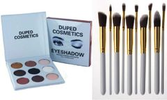 The Smoky Palette by Duped +10 Pcs Professional Synthetic Brush Set