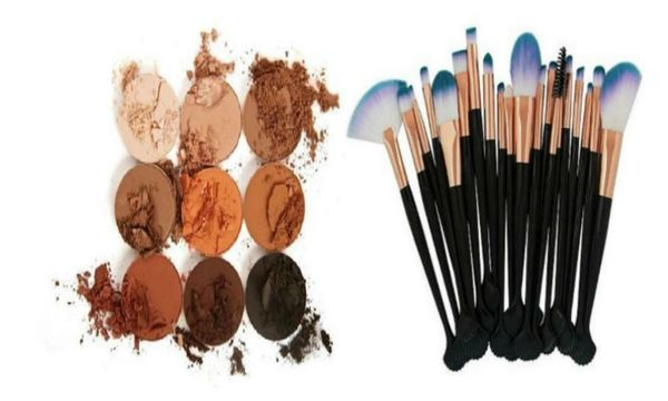 The Bronze Palette by Duped + Pro 20pcs Makeup Brushes Tool Set