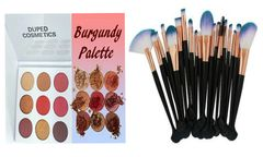 The Burgundy Palette by Duped + Pro 20pcs Makeup Brushes Tool Set