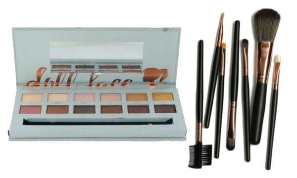 "Doll Face ""BRONZED"" Eyeshadow Palette W/Doll Face 7Pcs Brush Set"