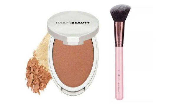 FusionBeauty Glow Micro-Tech Bronzer+Luxie Rose Gold Angled Face Brush Set