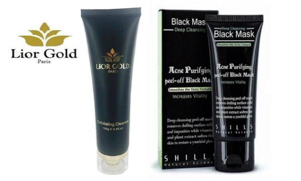 Lior Gold Paris Exfoliating Cleanser & Shills Purifying Deep Cleansing Peel-off Black Mask Set