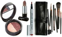 Laura Geller Eyeshadow+Berry Banana Lips+Stila Lip Rouge+Df 7Pcs Brush Set