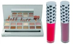 Doll Face Nude Tude Eyeshadow Palette+2Pcs DollFace Matte Lipstick Set