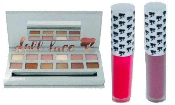 Doll Face Nude Tude Eyeshadow Palette+2Pcs DollFace Matte Lipstick Set