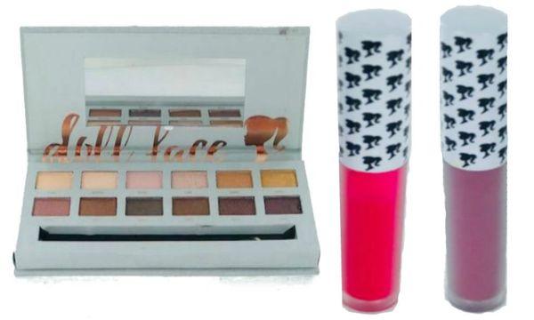 Doll Face Bronzed Eyeshadow Palette +2Pcs Doll Face Matte Lipstick Set