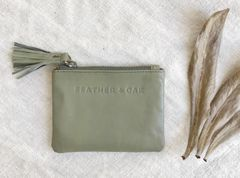 Feather & Oak Leather Zip Purse- Olive