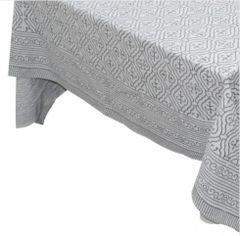 Tablecloth Grey & White Block Print