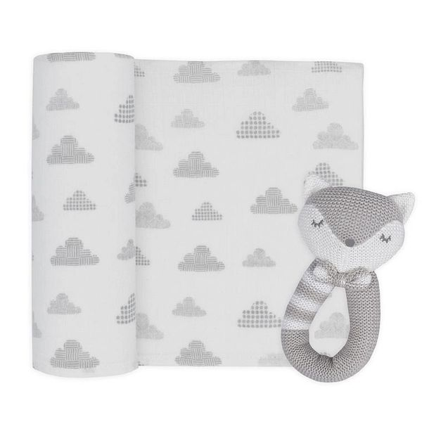 Rattle & Muslin Gift Set Charlie the Fox