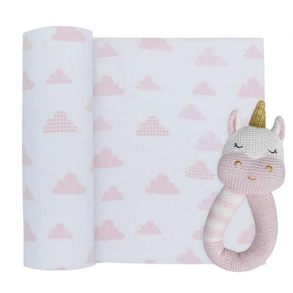 Muslin & Rattle Gift Set Kenzie the Unicorn