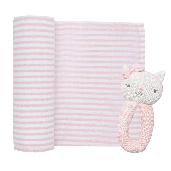 Muslin & Rattle Gift Set Daisy the Cat