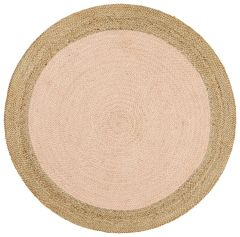Polo Jute Round Rug- Pink & Natural