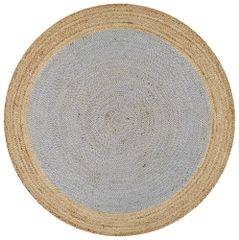 Polo Jute Round Round- Natural & Ice Blue