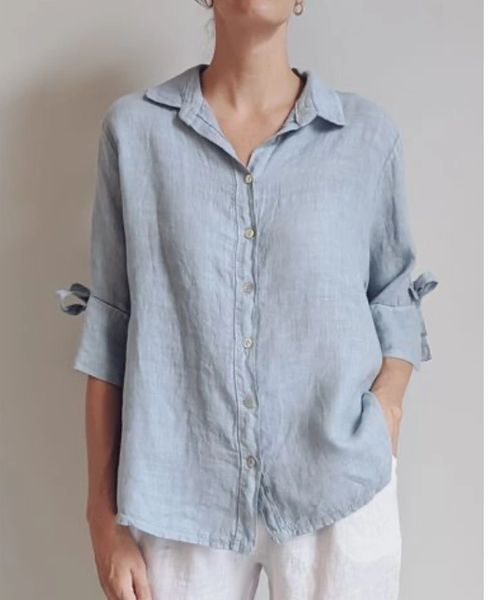 Linen Shirt with Tie Sleeve